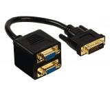 Rozbočovací kabel DVI – VGA, 24+5pinová zástrčka DVI-I – 2× zásuvka VGA, 0,20 m, černý
