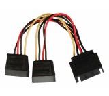 Rozbočovací napájecí kabel SATA, 15-pinová zástrčka SATA - 2× 15-pinová zásuvka SATA, 0,15 m, více barev