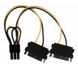 Rozbočovací kabel interního napájení, zásuvka PCI Express - 2× 15-pinová zástrčka SATA, 0,15 m, více barev