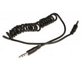 Spirálový stereo audio kabel s jackem, zástrčka 3,5 mm - zástrčka 3,5 mm, 1,00 m, černý