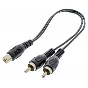 Rozbočovací audio kabel RCA, 2× zástrčka RCA - zásuvka RCA, 0,20 m, černý