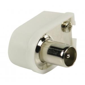 Koaxiální konektory úhlové, koaxiální zástrčka, bílá 2 ks