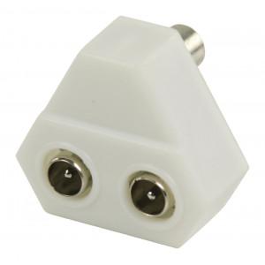 Koaxiální T-rozbočovač koaxiální zásuvka – 2x koaxiální zástrčka, bílá