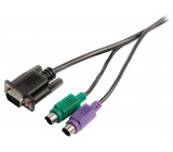 Kabel KVM, zástrčka VGA – 2× zástrčka PS2 – zásuvka VGA – 2× zástrčka PS2, 2,00 m, černý