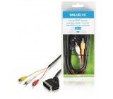 Přepínací kabel SCART – RCA, zástrčka SCART – 3× zástrčka RCA, 2,00 m, černý