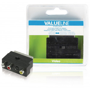 Přepínací AV adaptér SCART, zástrčka SCART – 3× zásuvka RCA + zásuvka S-Video, černý