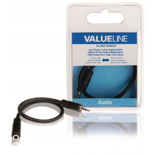 Redukční stereo audio kabel s jackem, zástrčka 2,5 mm - zásuvka 3,5 mm, 0,20 m, černý