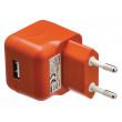 AC nabíječka, USB A zásuvka – AC síťová zástrčka, oranžová