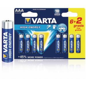 Battery alkaline AAA/LR03 1.5 V High Energy 6+2-blister