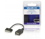 Datový kabel OTG data pro zařízení Samsung, 30pinová zástrčka - zásuvka USB A, černý, 0,20 m