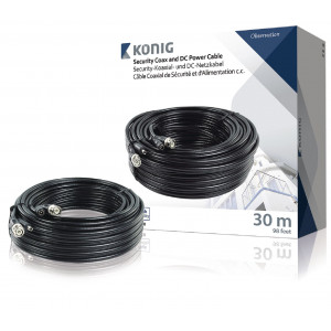 Bezpečnostní koaxiální kabel RG59 a DC napájení, 30 m