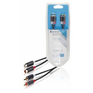 Stereofonní prodlužovací audio kabel, 2x RCA zástrčka – 2x zásuvka, 5 m, šedý