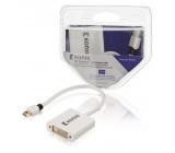 Mini DisplayPort – DVI kabel s adaptérem, Mini DisplayPort zástrčka – DVI zásuvka, 0,2 m, bílý