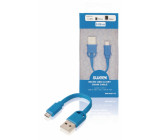 Kabel micro USB 2.0 na klíče, zástrčka USB A – zástrčka micro USB B, 0,1 m, modrý