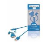 Synchronizační a nabíjecí kabel 3 v 1, zástrčka USB 2.0 A – zástrčka Micro B + adaptér Lightning + 30-pin dokovací adaptér, 1 m, modrý