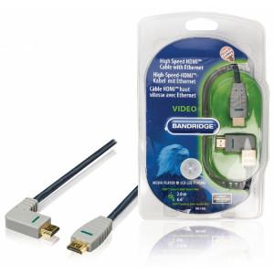 Kabel High Speed HDMI s ethernetem, konektor HDMI - konektor HDMI (úhlový levý), 2,0 m, modrý