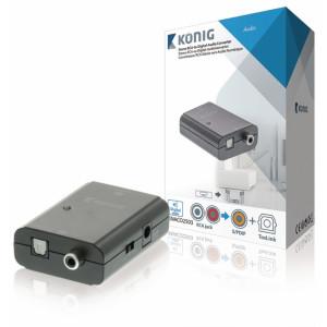 Stereo RCA na digitální audio převodník, 2x RCA zásuvka – TosLink + S/PDIF zásuvka, tmavě šedá
