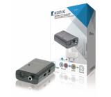 Digitální audio na stereo RCA převodník, TosLink + S/PDIF zásuvka – 2x RCA zásuvka, tmavě šedá