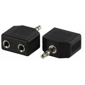Adaptér s 3,5 mm stereozástrčkou a dvoma 3,5 mm stereozásuvkami