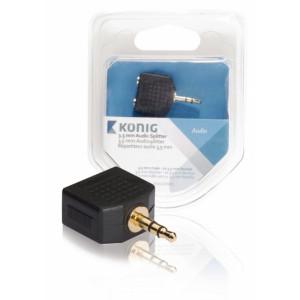 Stereo Audio Adaptér 3.5mm Zástrčka - 2x 3.5mm Zásuvka Antracit