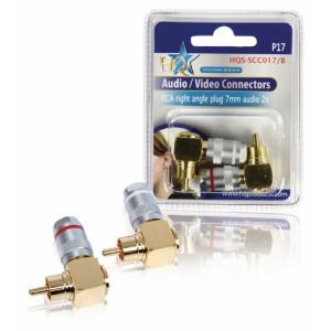 Konektor cinch (m) 90° č+b - 8mm, zlacený, 2ks