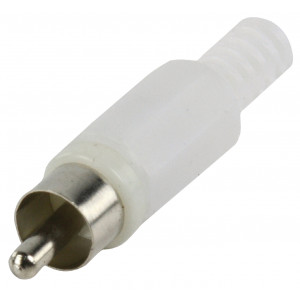 RCA plug with cable protector white