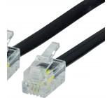 Telefonní Kabel RJ10 (4P4C) Zástrčka - RJ10 (4P4C) Zástrčka Plochý 3.00 m Černá