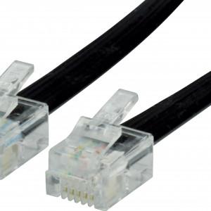 Telefonní Kabel RJ12 (6P6C) Zástrčka - RJ12 (6P6C) Zástrčka 2.00 m Černá