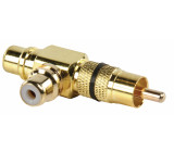 Adapter plug RCA plug to double RCA socket (GOLD) black