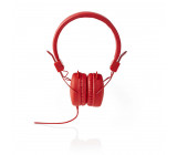 Kabelová Sluchátka | On-ear | Skládací | Kulatý Kabel 1,2 m | Červená barva