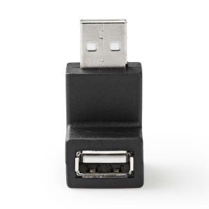 USB 2.0 Adaptér | A Zástrčka - A Zásuvka | Úhlová 90° | Černá barva