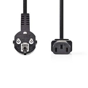 Napájecí Kabel 3 x 1,5 mm² | Úhlová zástrčka Schuko - IEC-320-C13 | 3 m | Černá barva