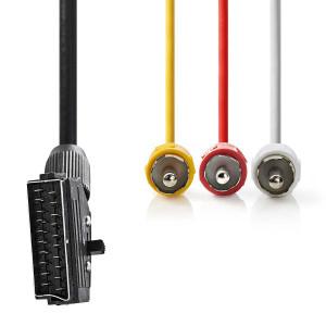 Přepínatelný SCART Kabel | SCART Zástrčka - 3x RCA Zástrčka | 2 m | Černá barva