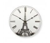 Kulaté Nástěnné Hodiny | Průměr 30 cm | Obrázek Eiffelovy Věže