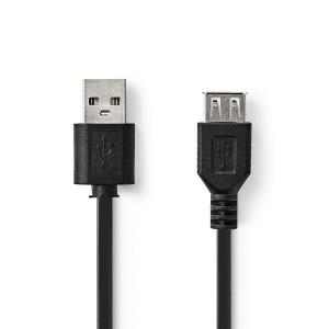 USB 2.0 kabel   Zástrčka A – Zásuvka USB A   1 m   Černá barva