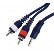 Kabel jack 3.5 stereo -<gt/>2x cinch l/r, 6m/0.35mm