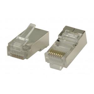 Konektory RJ45 STP CAT5 kabely s lankovými vodiči 10 ks
