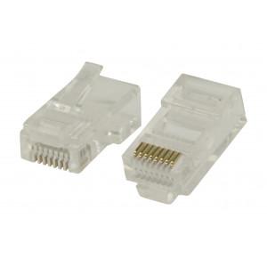 Snadno použitelné konektory RJ45 pro UTP CAT5 kabely s drátovými vodiči 10 ks