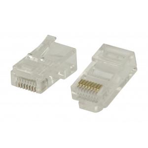 Snadno použitelné konektory RJ45 pro UTP CAT5 kabely s lankovými vodiči 10 ks