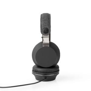 Drátová Sluchátka s Látkovým Povrchem | Na Uši | 1,2m Audio Kabel | Antracitová/Černá