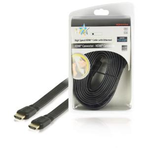 Flat High Speed HDMI®-kabel med Ethernet HDMI®-anslutning - HDMI®-anslutning 5.0 m