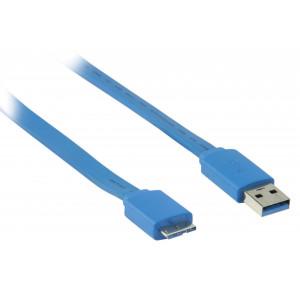 USB 3.0 A - Flat micro B kabel