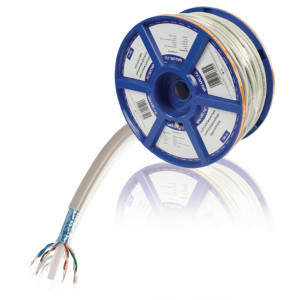 Síťový kabel s drátovými vodiči CAT6 F/UTP na cívce, 100,0 m, šedý