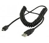 Spirálový kabel zástrčka USB 2.0 A – 5pinová zástrčka USB mini, 2,00 m