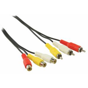 Prodlužovací AV kabel s konektory 3x RCA zástrčka – 3x RCA zásuvka 2,00 m černý