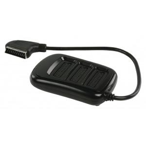 SCART rozbočovač, zástrčka SCART – 3× zásuvka SCART, 0,50 m, černý