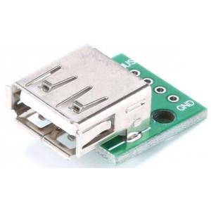 USB A, zdířka na plošném spoji