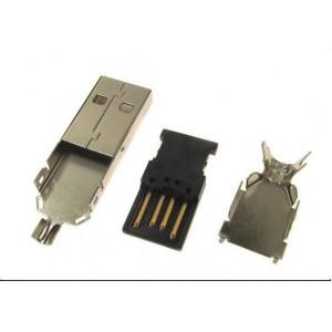 USB konektor TYP A na kabel, kovový kryt