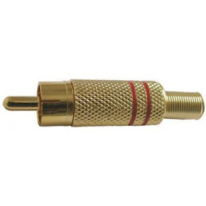 CINCH konektor kovový zlacený,červený proužek