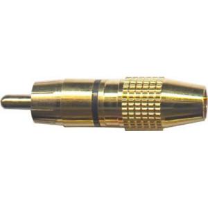 CINCH konektor zlacený pro kabel 5-6mm,černý proužek